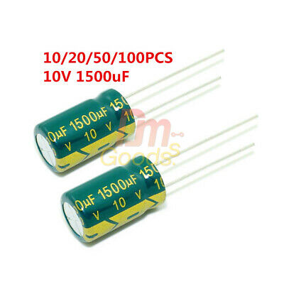 10/20/50/100PCS 10V 1500uF High Frequency LOW ESR Radial Electrolytic Capacitor
