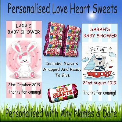 Personalised Mini Love Hearts Baby Shower Sweets Thank you for coming girl,boy