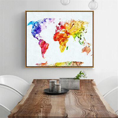 50x35cm Retro World Map Art Canvas Print Wall Painting Picture Mural Home