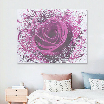 Modern Purple Rose Flower Canvas Print Art Painting Picture Wall Decor