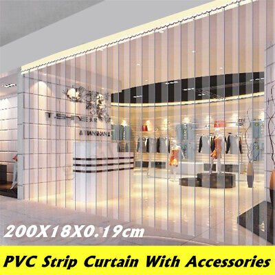 Freezer Room PVC Plastic Strip Curtain Door Strip Kit Hanging Rail