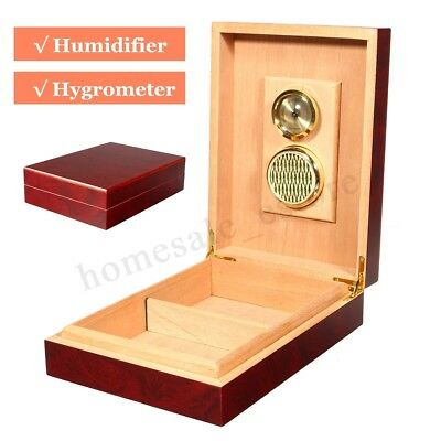 10 Cedar Wooden Cigar Storage Case Humidor Lined Box Humidifier Hygrometer New
