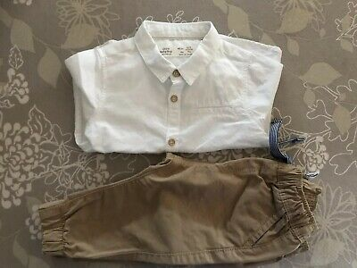 Zara Baby Boy White Shirt Size 6-9 Months And Target Tan Chinos Size 3-6 Months