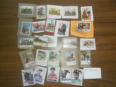 25 HORSE themed stamps on paper. Good condition.