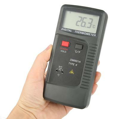 DM6801A LCD Digital K-Type 2-CH Thermocouple Thermometer Temperature Meter HG