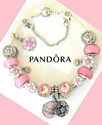 Pandora Bracelet Silver Magnolia MOM MOTHER DAY Pink LOVE European Charms New