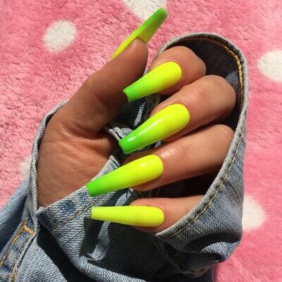 CUSTOM PRESS ON Nails Pink Neon Colorful Vertical Ombre Rainbow