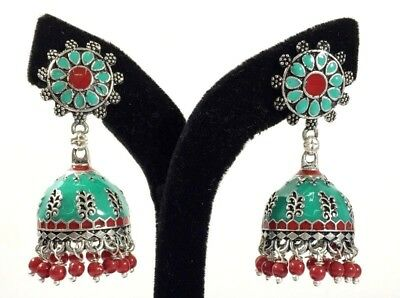 Multi-Color Hand Painted With Stone Handmade Drop Dangling Stud Earring 5 Cm