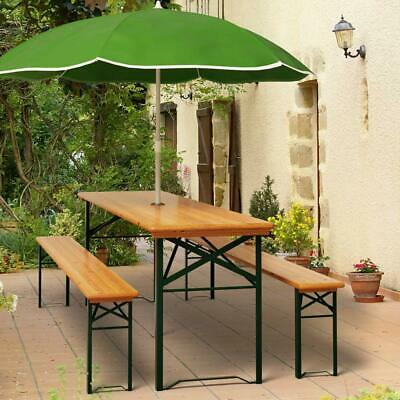 Wooden Garden Table Bench Set Folding Dining Trestle Furniture with Parasol Hole