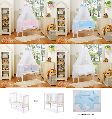 Wooden Baby Space Small Cot Bed 2in1 bedside co-sleeping + mattress + bedding