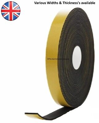 Neoprene Rubber Self Adhesive Sponge Strip - 10M Length - 3Mm, 6Mm, 10Mm Thick