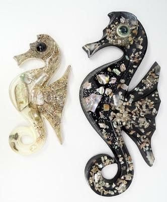 2 Mid-Century Abalone Lucite Wall Art Hangings Decoration Seahorse Shaped