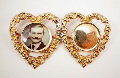 Antique Victorian 10K Hearts Dbl Photo Portrait Hair Receiver Sweetheart Brooch