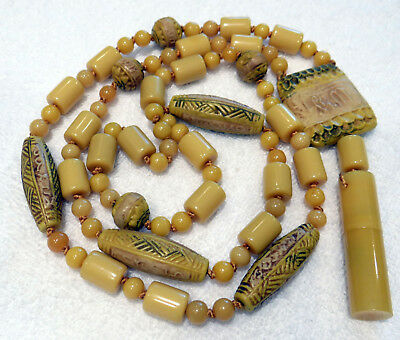 Antique French Deco Egyptian Revival Galalith Perfume Pendant Sautoir Necklace
