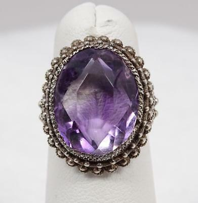 Antique Chinese Cannetille Filigree Silver 8ct Amethyst Ring Marked China SZ 5.5