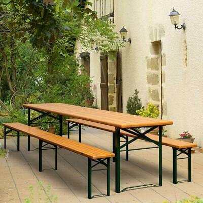 Extra Long 220cm Wooden Trestle Set Sturdy Folding Garden Ale Table and Benches