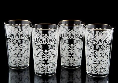 Anchor Hocking Florentine White Tumbler Glasses Set of 4 Vintage Glass Drinkware