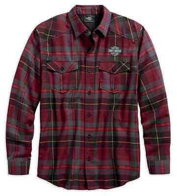 96593-19Vm Harley-Davidson Men's High Density  L/S  Plaid Shirt  ** New**