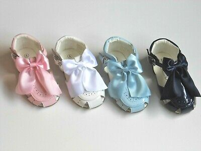 Baby Girl Hard Soled Spanish Sandals With Buckle Fastening & Bow