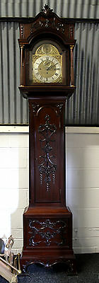 A Very Good Quality Chippendale Style Mahogany Grandfather Clock On Eight Bells