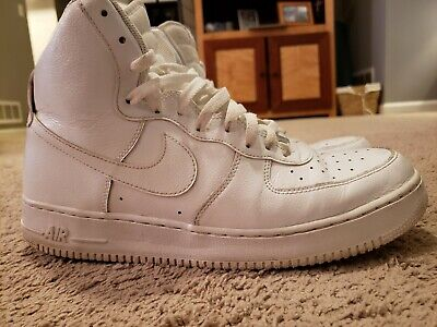 quality design af45d b9c0a NIKE AIR FORCE 1 HIGH  07 WITH STRAP 315121 115 WHITE ON WHITE - size