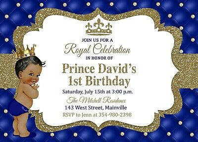Prince First Birthday Invitation King Royal One Year Boy