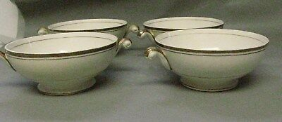 Homer Laughlin Eggshell Nautilus L42N5 4 Footed Cream/Gold Soup Bowls