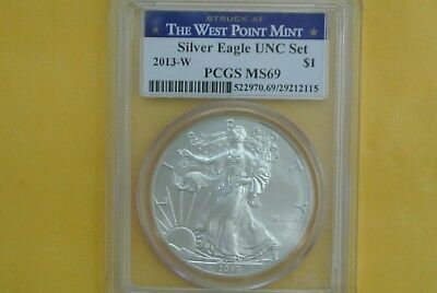 2013-W Burnished Silver Eagle NGC MS69 UNC (2013 Annual Dollar Set) Spotted