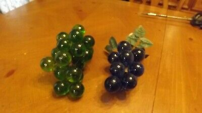 lot of 2 Vtg Acrylic Lucite Grape Cluster Blue/Green Mid Century Retro - 10 L