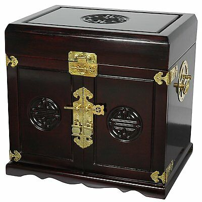 Oriental/Asian Rosewood Jewelry Box/Cabinet w/5 Drawers - Dark Rosewood -Brass!