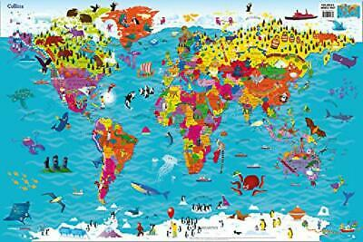 Collins Childrens World Map Illustrated Picture Poster Kids Visual Atlas Colored