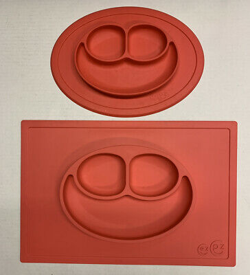 ezpz Happy Mat Suctions One Piece Silicone Placemat Red