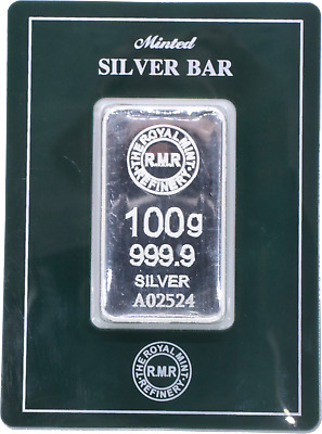 Minted Silver Bar 100g 999.9 Silver The Royal mint Comes in Green pack