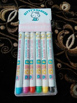 Very Rare Vintage Sanrio Hello Kitty Pen Markers Set Made In Japan 1976