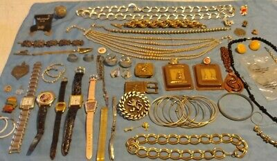 Vintage Junk Drawer 40+ Items Lot Costume Jewelry Charms Buckles Watches Disney