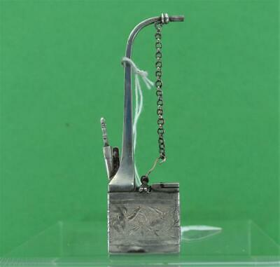 Antique Chinese Export Silver Menu Holder Gem Wo Canton 1850 -95