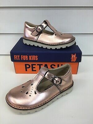 Petasil Andrea Girls T- Bar Style Shoes In Rose Gold ( New Season)