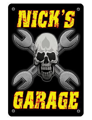 Personalized Garage Sign Printed w YOUR NAME Aluminum SIGN wht red skull dd#396