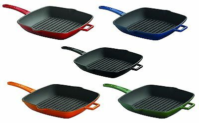 Lava Singature Enameled Cast-Iron 10 inch Square Grill Pan Cayenne Red