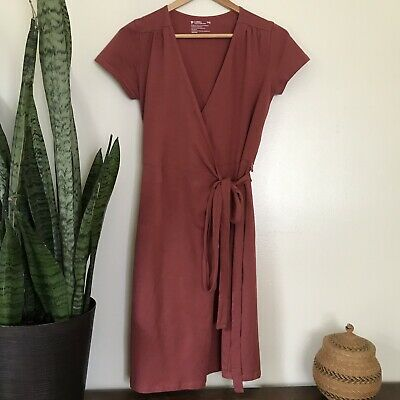 2ea2c3a0 Pact Apparel Women's Super Soft Organic Cotton Brick Red Wrap Dress Basic  Sz XS