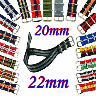 Unisex Fabric multicolor Nylon Wristwatch straps watch band  20mm 22 mm