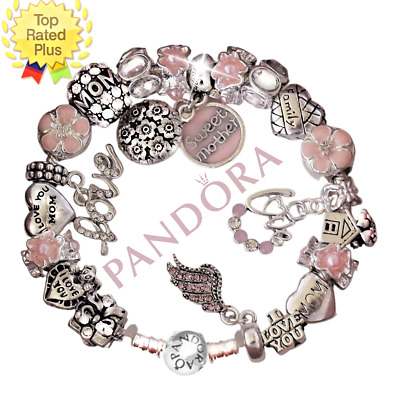 Authentic Pandora Bracelet Silver SWEET MOTHER Pink MOM LOVE European Charms New