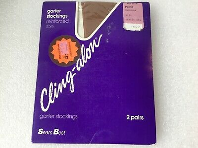 6e1830eb8 Garter Stockings Cling-alon Sears Best Petite Sandstone Reinforced Toe 2  pair