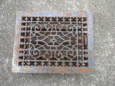 Floor Grate Antique Architectural Salvage Scroll Design Metal Vent Louver Works