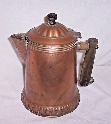 Antique Civil War Era Solid Copper Coffee Pot With Wood Handle HAS OLD REPAIRS