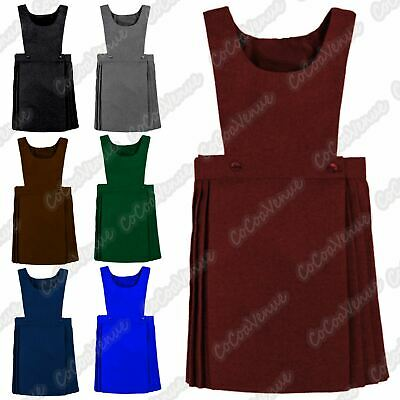 New Girls Wrap Over Knife Pleated Sleeveless Bib Pinafore School Uniform Dress