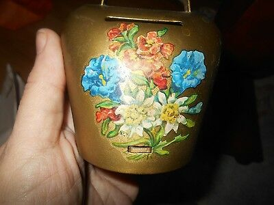 Gold Metal 'PURSE' Shaped Still Coin Bank, Floral Bouquet On Front, Handle!