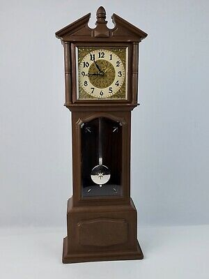 Vintage Lux miniature grandfather clock tabletop or wall hanging 1/2 hour chime