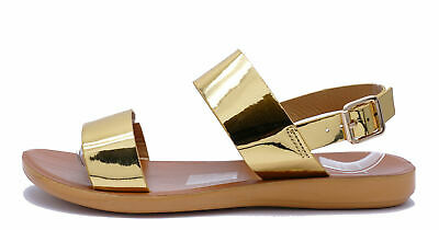 Womens Gold Flat Peep-Toe Strappy Comfy Summer Sandals Shoes Sizes 3-8