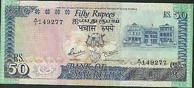 1986 Mauritius 50 Rupees Currency Note Pick 37A Paper Money Fifty Rupees